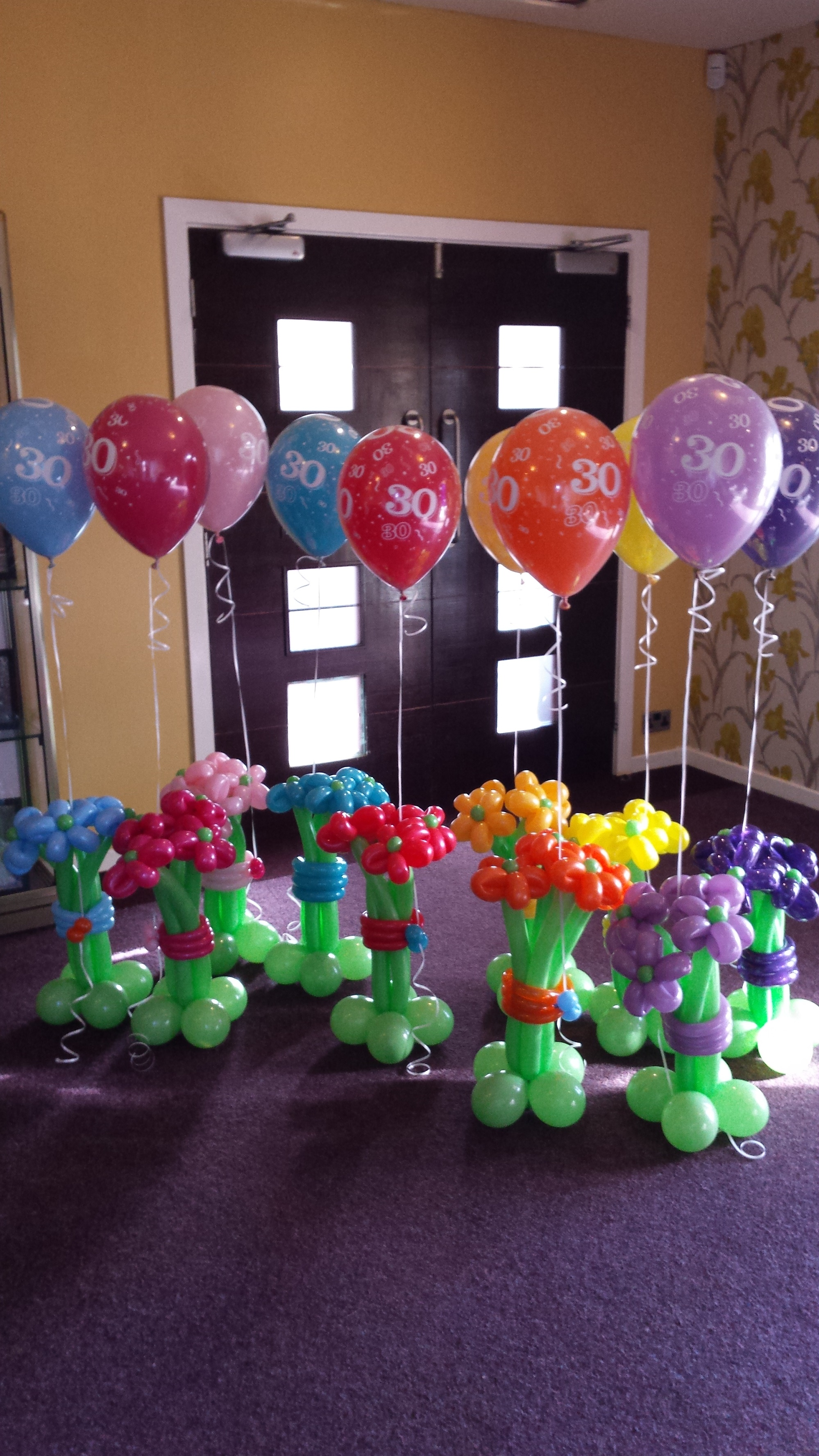 Balloon Flower Bouquets for a 30th Birthday Party - Balloon Bliss Hull.